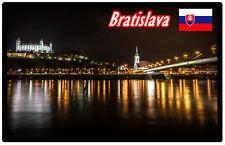 BRATISLAVA AT NIGHT, SLOVAKIA - SOUVENIR NOVELTY FRIDGE MAGNET /  SIGHTS / GIFTS
