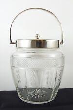 Beautiful Edwardian Cut Crystal Cracker / Cookie Jar Silver Plated Lid & Handle