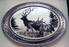 Belt Buckle Barlow Scrimshaw Carved Painted Art Elk Pair Western Silver 592608