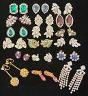 Vintage Estate Jewelry Huge Lot Rhinestone Earrings Juliana Weiss +++