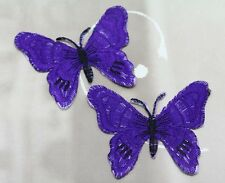 New 2pcs purple Butterflies Embroidered Cloth Iron On Patch Motif Applique Diy