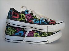CONVERSE Peace Love Flowers Shoes Black Low Top Canvas Sneakers Women's 5 / 3 UK