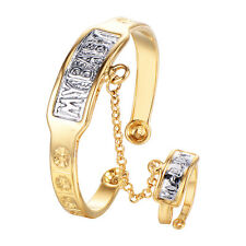 Baby Toddler Gold Filled Cuff safety Adjustable Bangle bracelet Ring Set My Baby