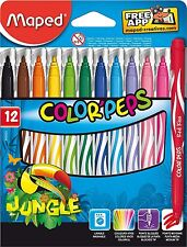Helix Maped Color'Peps JUNGLE 845420 - Pack of 12 Assorted Colour Felt Tips