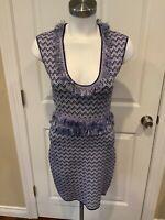 Ronny Kobo Blue & White Zig-Zag Mini Dress w/ Fringe Trim, Size L, NWT!