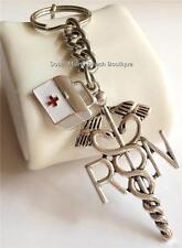 Silver RN Caduceus Nursing Keychain Nurse Bag Medical Gift ARNP CRNA USA Seller