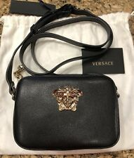 NWT Versace Mini Black Calf Leather Medusa Head Vitello Crossbody Shoulder Bag