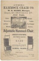1870s Hammock Chair Co. Adjustable Hammock Chair Illustrated Handbill