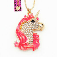 Betsey Johnson Enamel Crystal Cute Unicorn Horse Pendant Sweater Chain Necklace
