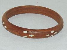 Vtg Mother Pearl Inlay Wood Bangle Bracelet , Nice