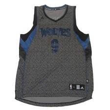 New Adidas NBA Minnesota Timberwolves Ricky Rubio #9 Jersey Grey and Black Large