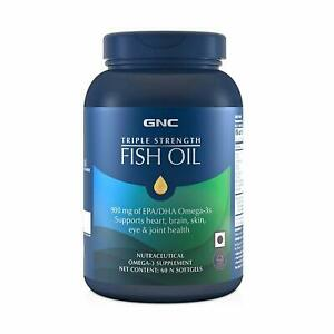 GNC Triple Strength Fish Oil 900mg Omega 3 Supplement 60 Softgels Free Shipping
