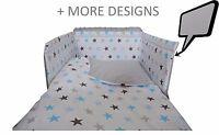BLUE STARS/GREY - 5 Pcs Baby Nursery Bedding Set -Cot 120x60 or Cot Bed 140x70cm