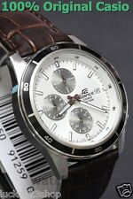 EFR-526L-7A White Casio Men Watches Geunine Leather Band Chronograph Date Analog