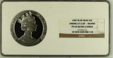 1987 Isle of Man Silver 5oz America's Cup NGC PF64UC