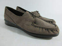 SAS Petra Truffle Taupe Brown Nubuck Lace Moc Toe Loafers Womens Size 8.5 N