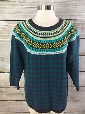 Talbots Nordic Pattern Sweater Size XL Lambswool Blend Gray Checked Fair Isle