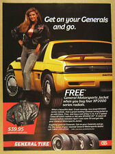 1988 Pontiac Fiero Formula yellow car photo General Tire vintage print Ad
