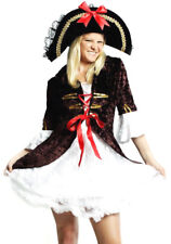 Womens Brown Pirate Wench Sailor Ladies Fancy Dress Costume Size 12 - 14