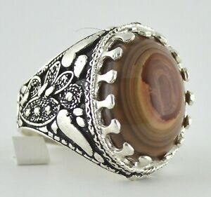 Yemeni Sulemani Aqeeq Aqiq Agate Stone, Yemen Islamic Silver Ring عقيق سليماني