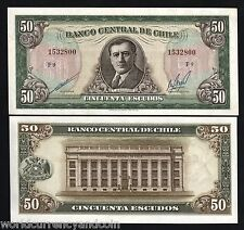 CHILE 50 ESCUDOS P140 1962 HORSE BANCO CENTRAL UNC LARGE LATINO CURRENCY NOTE