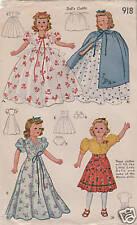 "918 Fashion Slender  Doll Pattern - Size 18"" - Vintage Year 1941"