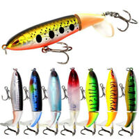 8Pcs Whopper Plopper Topwater Floating Fishing Lures Rotating Tail for Bass Pike
