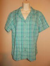 08c45874816290 New Blair Womens Size M Blue Plaid Button Down Blouse Short Sleeves