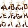 A-Z Letter Acrylic Keychain Tassel Leopard Keyring Bag Pendant Charm Women Gifts