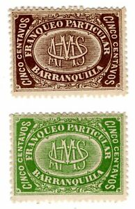 COLOMBIA - PRIVATE CARRIER - OCTAVIO MORA SA - THE 2 STAMPS - 1882 RRR