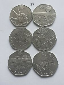 50p coin olympic job lot x6, includes judo