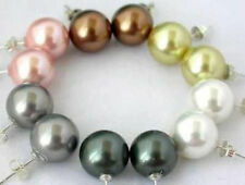 Wholesale 6pc 10mm South Sea Shell Pearl Stud 925 Silver Earrings