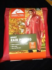 New Ozark Trail Adult Rain Poncho 1 size fits most - side snaps Red