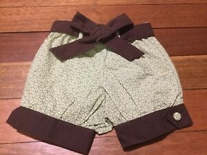 Toddler Shorts/bloomer AUDREY'S GARDEN Mint Green Brown Trim Cotton Size 3-4