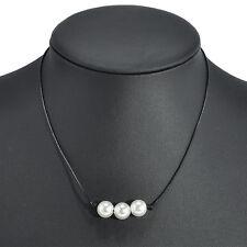 Women Black Leather Cord Single Pearl Pendant Choker Necklace Jewelry Decor Gift