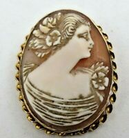 Vintage Solid 10K Yellow Gold Frame Carved Shell Cameo Brooch Pin Pendant 8.3 gr