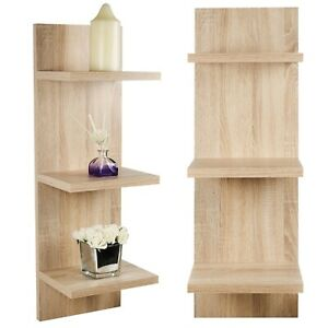 3 Tier Wooden Floating Panel Shelves Wall Mount Hanging Storage Display Unit MDF