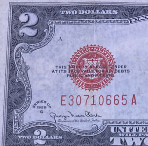 1928 ($2) TWO DOLLAR RED SEAL LEGAL TENDER BEARER ON DEMAND NOTE BOLD COLORS