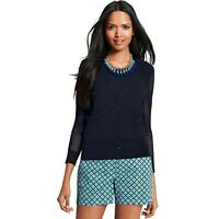 New ANN TAYLOR Womens Medium Navy Chevron Sleeve V Neck Cardigan Sweater M nwt