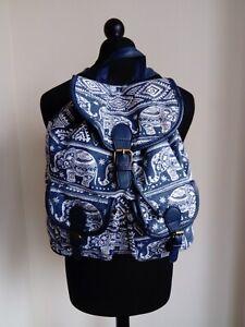 Womens Blue White Canvas Elephant Pattern Backpack School Bag - Small Medium