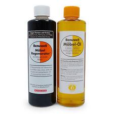 Renuwell Spar-Set Möbel Öl 500 ml + Regenerator 500 ml zur Reinigung und Pflege