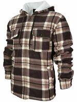 Men's Heavyweight Plaid Zip Up Sherpa Lined Hoodie Brown Jacket w/ Defect