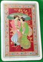 Playing Cards Single Card Old Vintage JAPANESE Girls LADIES Girl Lady + FLOWERS