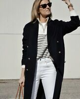 Zara Navy Double Breasted Wool Blend Coat Jacket Size S Bloggers Fave Sold Out