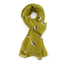 The Olive House® Womens British Puffin Sea Bird Scarf Green