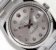 Rolex Datejust 116234 S/Steel Oyster-18k Gold Fluted Bezel-Silver Diamond Dial