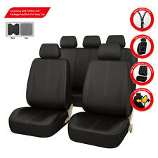 Black PU leather Car Seat Covers Universal Fit Car TRUCK SUV Breathable Full Set