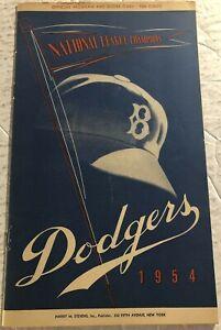 1954 BROOKLYN DODGERS Milwaukee BRAVES Program HANK AARON Rookie JACKIE ROBINSON