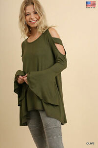 S UMGEE OLIVE Cold shoulder Bell SLeeve Knit Flowy Tunic/Top/Blouse BHCS