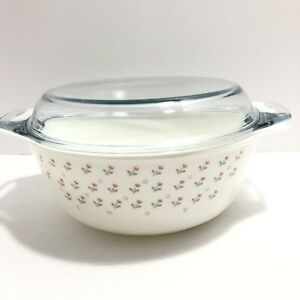 Pyrex Casserole With Lid - Made In England Pink Floral Design